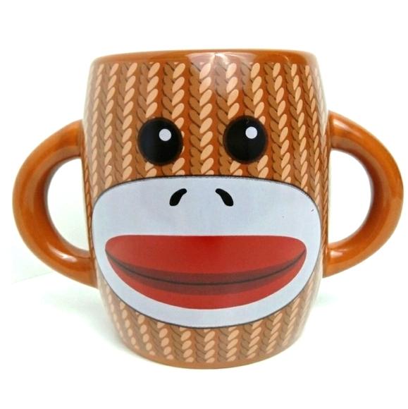 Sock Monkey Brown Faux Knit Double Handled Mug